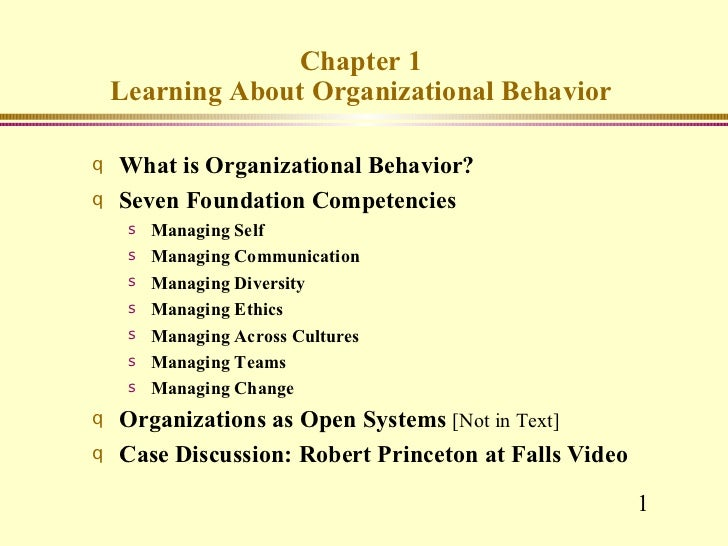 Chapter 1 Learning About Organizational Behavior <ul><li>What is Organizational Behavior? </li></ul><ul><li>Seven Foundati...