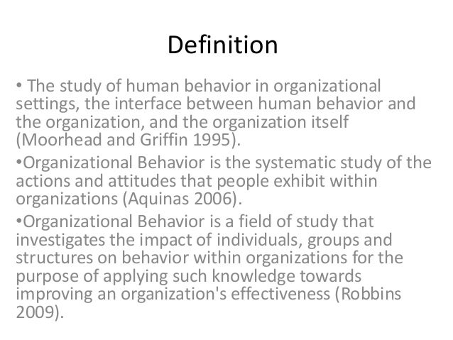 concept of human behavior in organization