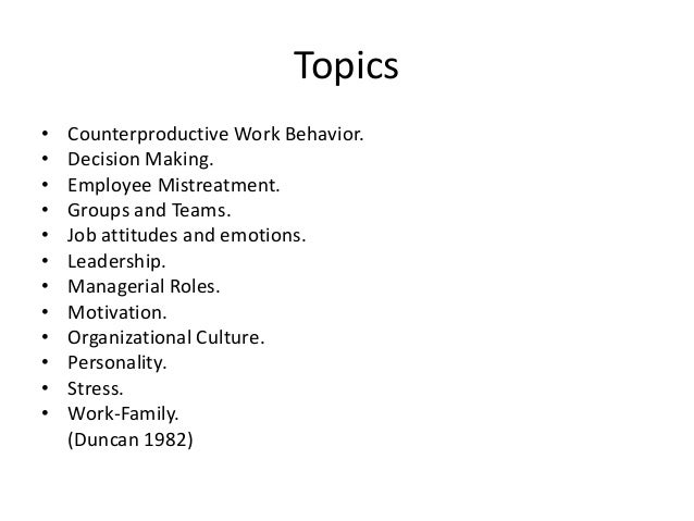 We cover the following topics: