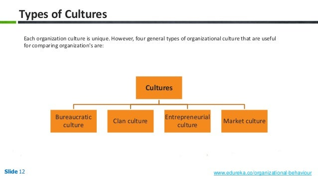 four organizational culture types The four organizational culture types offers a simple means of categorization and understanding however, it is possible for a company or department to have subdominant elements this means that an accounting department that is a control (hierarchy) may still have substantial compete (market) traits.