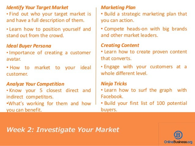Identify Your Target Market • Find out who your target market is and have a full description of them. • Learn how to posit...
