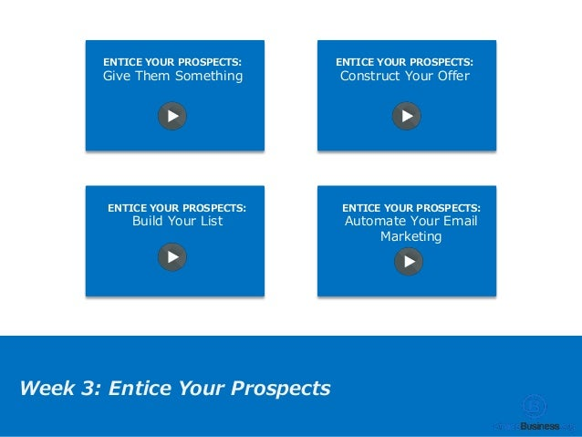 ENTICE YOUR PROSPECTS: Give Them Something ENTICE YOUR PROSPECTS: Construct Your Offer ENTICE YOUR PROSPECTS: Build Your L...