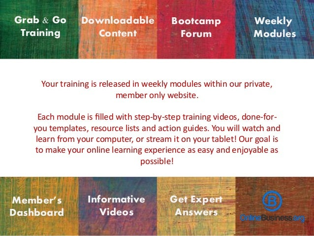 Grab & Go Training Your training is released in weekly modules within our private, member only website. Each module is fill...