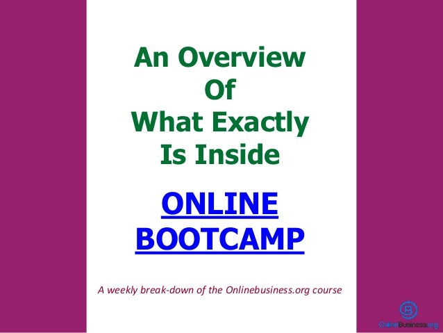 An Overview Of What Exactly Is Inside ONLINE BOOTCAMP A weekly break-down of the Onlinebusiness.org course