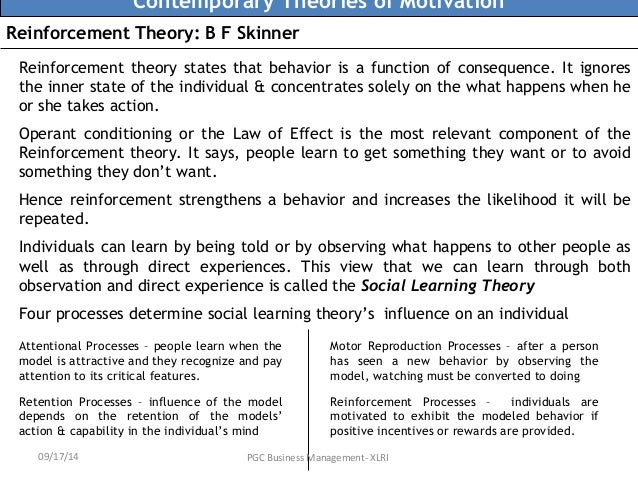 reinforcement theory to motivate emplooyees Reinforcement theory of motivation is based law of effect, where behaviors are selected by their consequences and overlooks the individual's internal state.