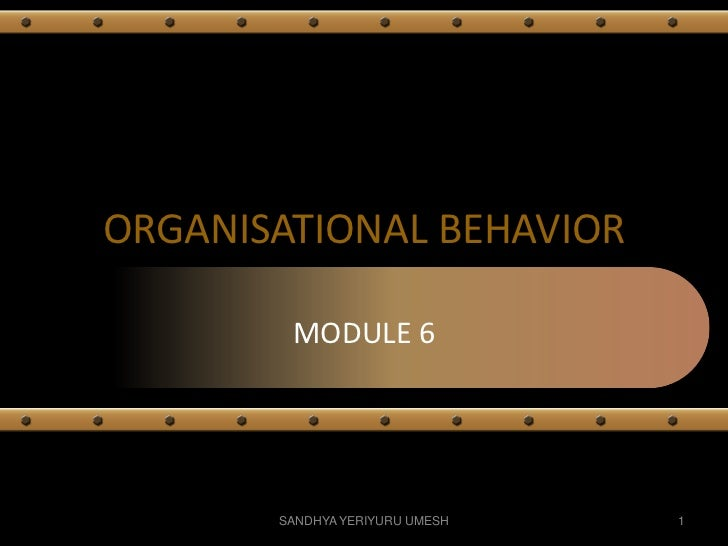 ORGANISATIONAL BEHAVIOR        MODULE 6       SANDHYA YERIYURU UMESH   1