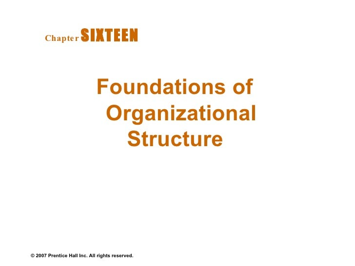 Foundations of Organizational Structure  Chapter   SIXTEEN