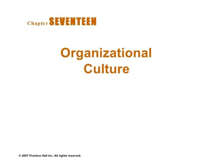 Organizational Culture   Chapter   SEVENTEEN