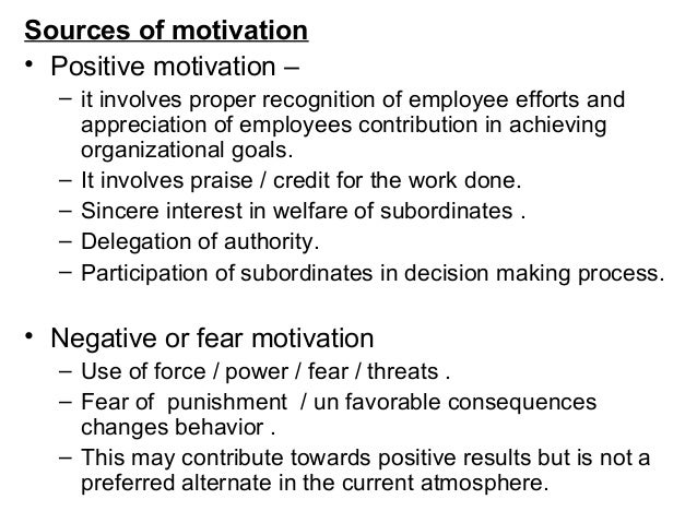 sources of motivation The four factors of motivation share the four factors of motivation by: brian tracy there are four factors of motivation that exist in every organization or business these factors determine the levels of motivation of the staff, whether positive or negative.