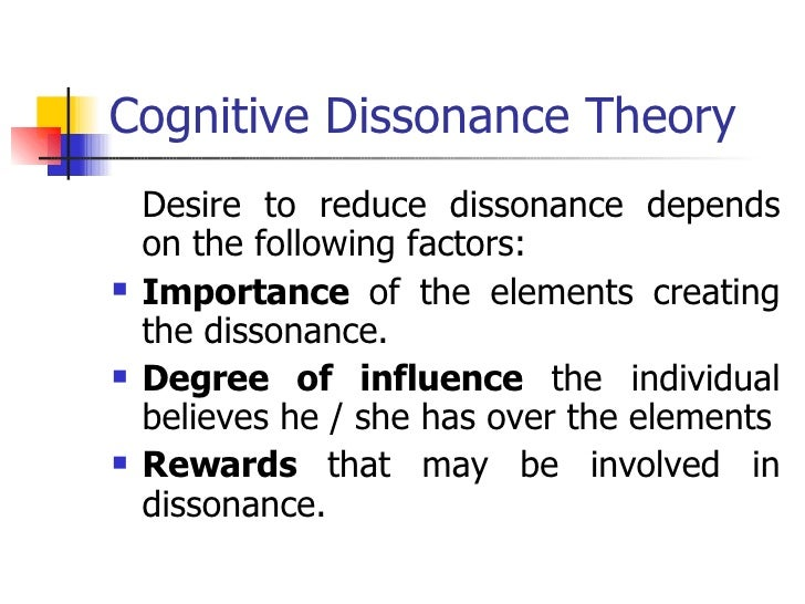 an overview of the theory of cognitive dissonance Festinger's theory of cognitive dissonance has been one of the most influential an introduction to cognitive dissonance theory and an overview of current this chapter presents an introduction to cognitive dissonance theory, followed by an overview of current perspectives and.