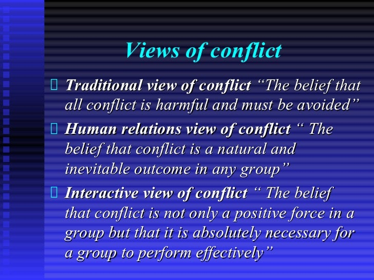 """Views of conflictTraditional view of conflict """"The belief thatall conflict is harmful and must be avoided""""Human relations ..."""