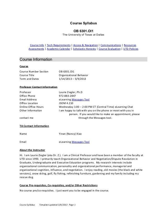 Course Syllabus                                                OB 6301.OI1                                      The Univer...
