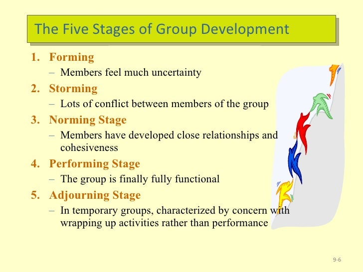 an overview of the five stages of group development Tuckman's model of team development and dynamics whether your team is a temporary working group, a virtual team or a newly-formed, permanent team, understanding the stages they'll go norming - performing model of group development tuckman maintained that these phases are.