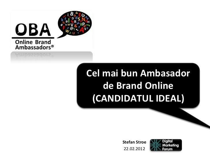 Cel mai bun Ambasador    de Brand Online (CANDIDATUL IDEAL)       Stefan Stroe        22.02.2012