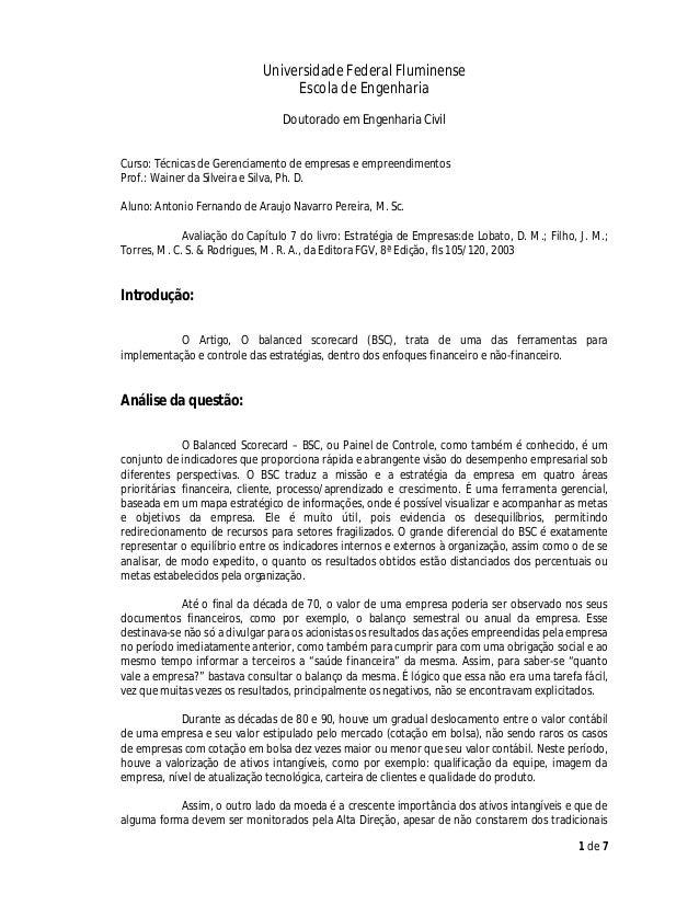 Universidade Federal Fluminense Escola de Engenharia Doutorado em Engenharia Civil Curso: Técnicas de Gerenciamento de emp...