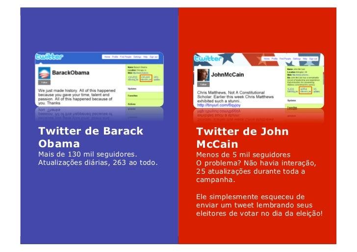 Twitter de Barack                    Twitter de John Obama                                McCain Mais de 130 mil seguidore...