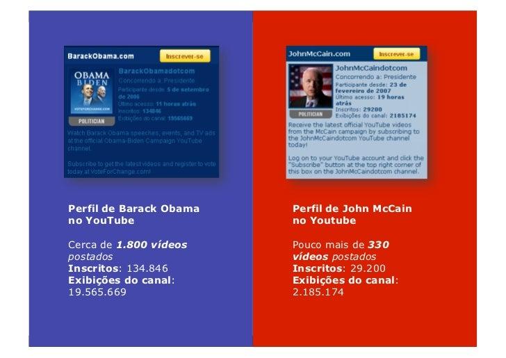 Perfil de Barack Obama   Perfil de John McCain no YouTube               no Youtube  Cerca de 1.800 vídeos    Pouco mais de...
