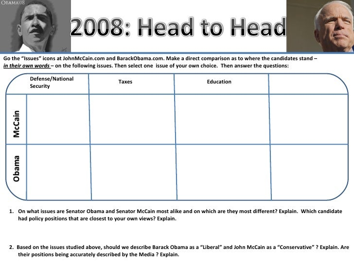"Go the ""Issues"" icons at JohnMcCain.com and BarackObama.com. Make a direct comparison as to where the candidates stand – i..."