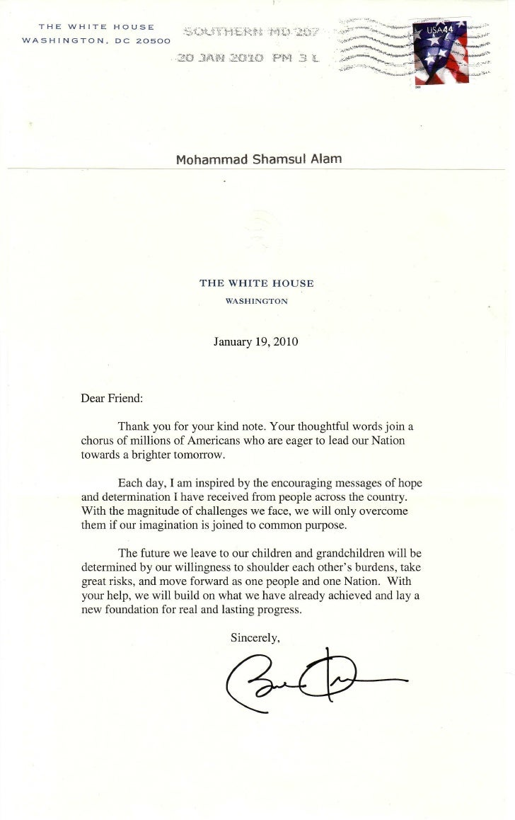 President Obama reply