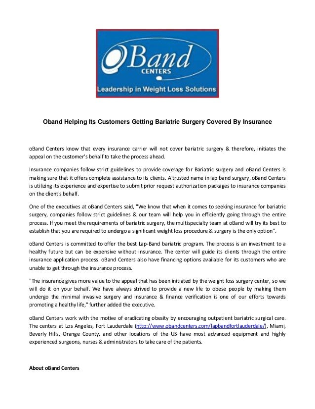Oband Helping Its Customers Getting Bariatric Surgery Covered By Insu