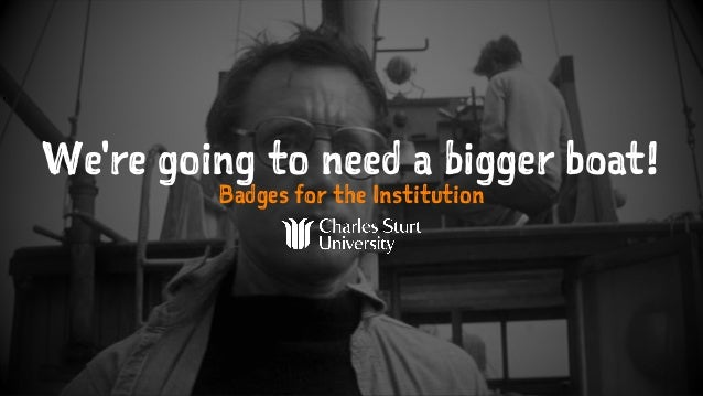 We're going to need a bigger boat! Badges for the Institution