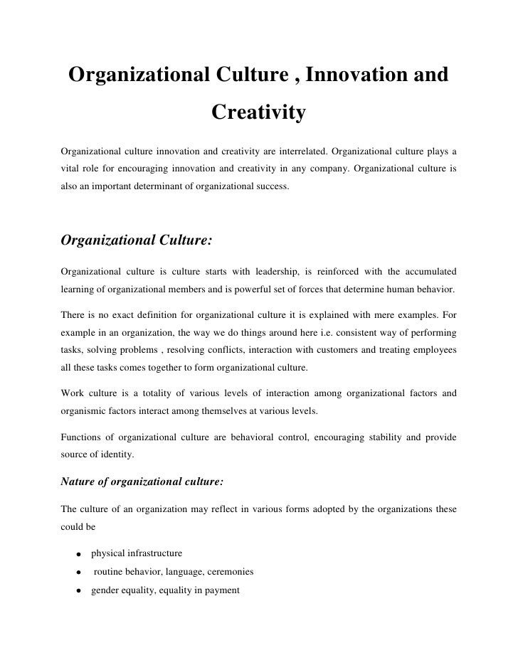 Organizational Culture , Innovation and                                     CreativityOrganizational culture innovation an...