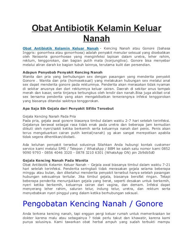 Obat Antibiotik Kelamin Keluar Nanah Obat Antibiotik Kelamin Keluar Nanah - Kencing Nanah atau Gonore (bahasa Inggris: gon...