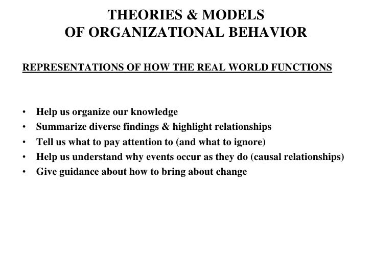 THEORIES & MODELSOF ORGANIZATIONAL BEHAVIOR<br />REPRESENTATIONS OF HOW THE REAL WORLD FUNCTIONS<br />Help us organize our...