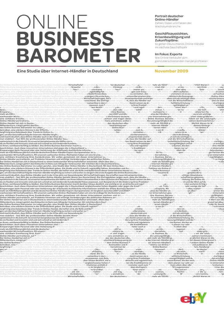 Online Business Barometer I November 2009