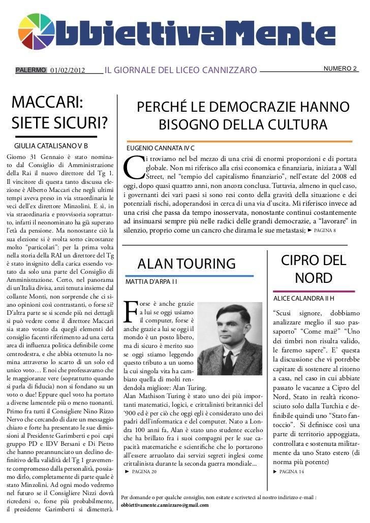PALERMO 01/02/2012                   IL GIORNALE DEL LICEO CANNIZZARO                                                     ...