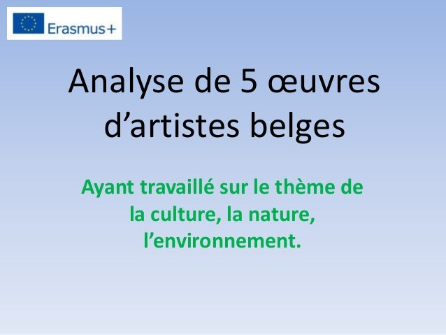 Analyse de 5 œuvres d'artistes belges Ayant travaillé sur le thème de la culture, la nature, l'environnement.