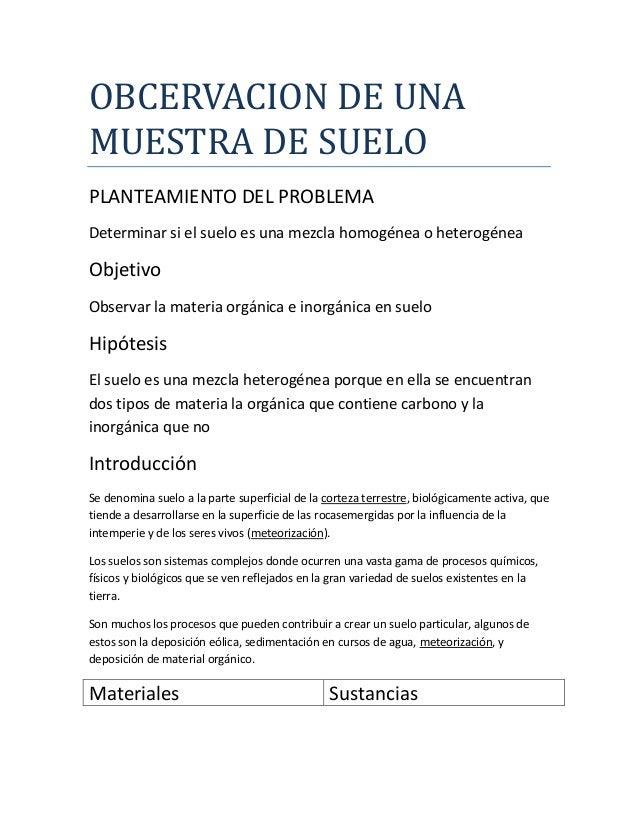 OBCERVACION DE UNAMUESTRA DE SUELOPLANTEAMIENTO DEL PROBLEMADeterminar si el suelo es una mezcla homogénea o heterogéneaOb...