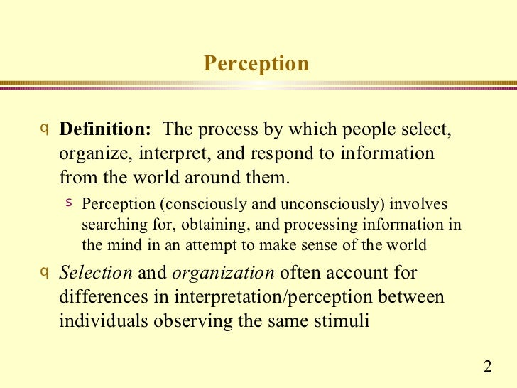 perception in organizational behaviour