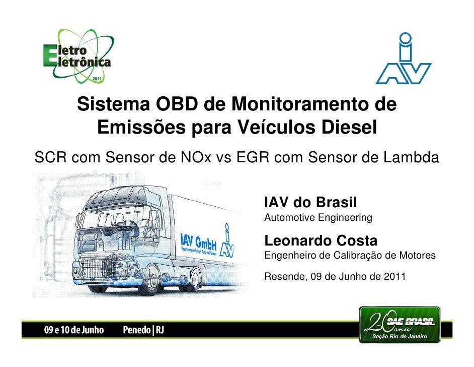Sistema OBD de Monitoramento de       Emissões para Veículos DieselSCR com Sensor de NOx vs EGR com Sensor de Lambda      ...