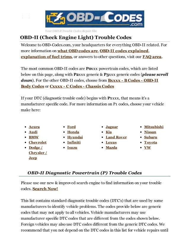 Obd ii diagnostic trouble codes dtc