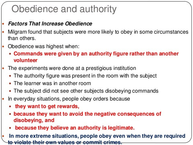 obedience with authority A summary of obedience and authority in 's social psychology learn exactly what happened in this chapter, scene, or section of social psychology and what it means.