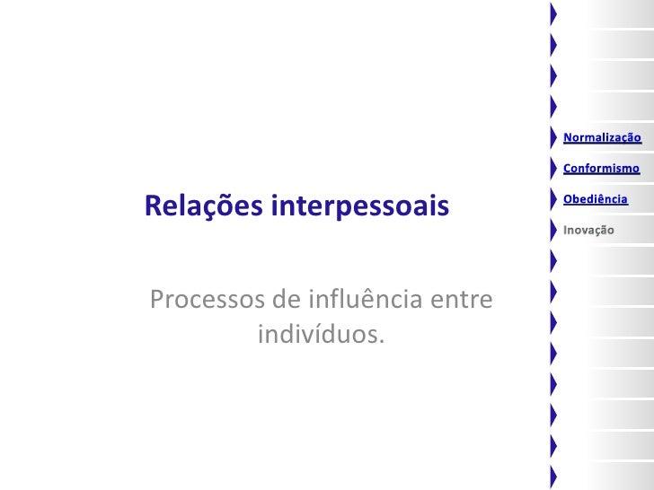 Relações interpessoais  Processos de influência entre         indivíduos.