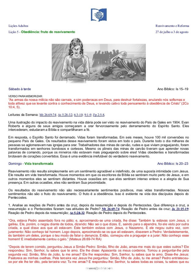 Lições Adultos Reavivamento e Reforma Lição 5 - Obediência: fruto do reavivamento 27 de julho a 3 de agosto Sábado à tarde...