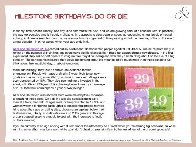 MILESTONE BIRTHDAYS: DO OR DIE  In theory, time passes linearly, one day is no different to the next, and we are growing o...