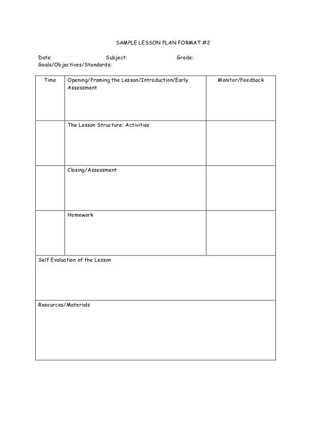SAMPLE LESSON PLAN ...  Lesson Plan Formats