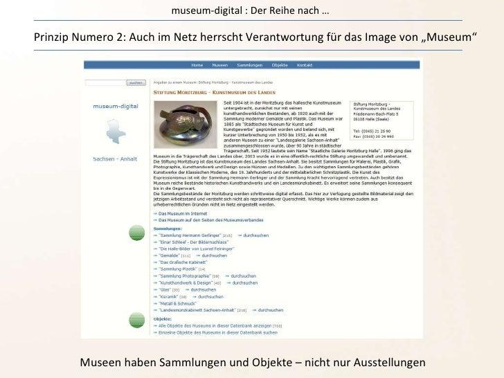"""museum-digital : Der Reihe nach … Prinzip Numero 2: Auch im Netz herrscht Verantwortung für das Image von """"Museum"""" Museen ..."""