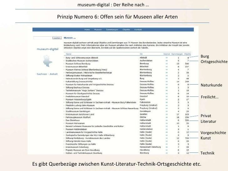 museum-digital : Der Reihe nach … Prinzip Numero 6: Offen sein für Museen aller Arten Es gibt Querbezüge zwischen Kunst-Li...