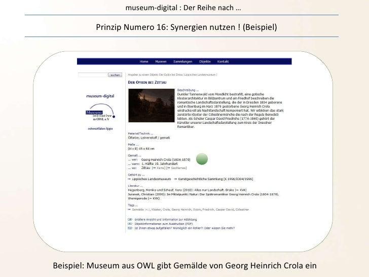 museum-digital : Der Reihe nach … Prinzip Numero 16: Synergien nutzen ! (Beispiel) Beispiel: Museum aus OWL gibt Gemälde v...