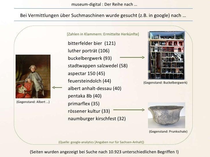 museum-digital : Der Reihe nach … Bei Vermittlungen über Suchmaschinen wurde gesucht (z.B. in google) nach …  bitterfelder...