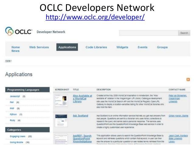 OCLC Developers Network http://www.oclc.org/developer/