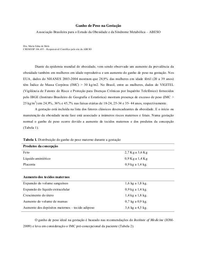 Ganho de Peso na Gestação           Associação Brasileira para o Estudo da Obesidade e da Síndrome Metabólica – ABESODra. ...