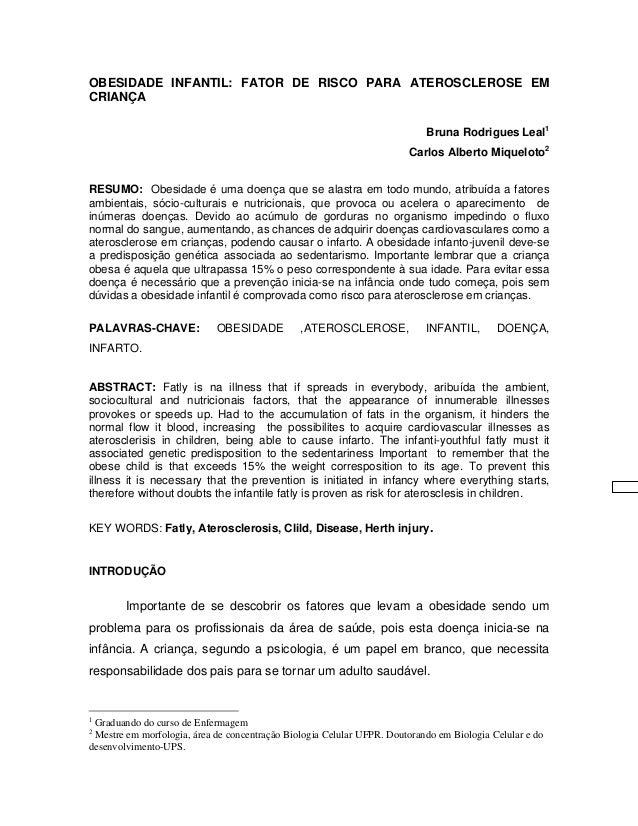OBESIDADE INFANTIL: FATOR DE RISCO PARA ATEROSCLEROSE EMCRIANÇA                                                           ...