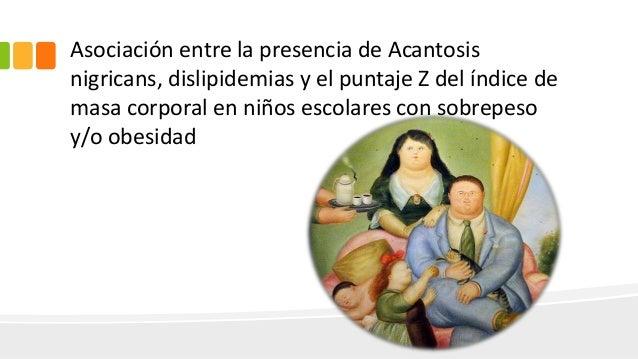 Asociación entre la presencia de Acantosis nigricans, dislipidemias y el puntaje Z del índice de masa corporal en niños es...