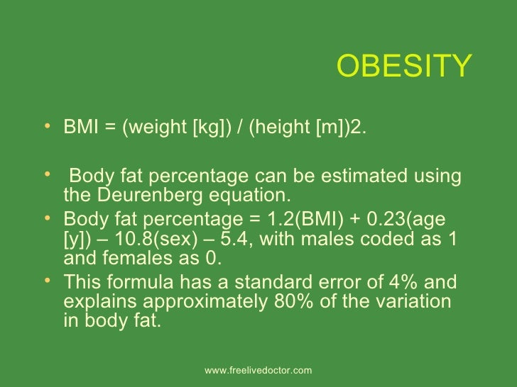 obesity definition The true definition of obesity is the excessive accumulation of fat in the body that could adversely affect one's health it is measured in relation to the right weight for.