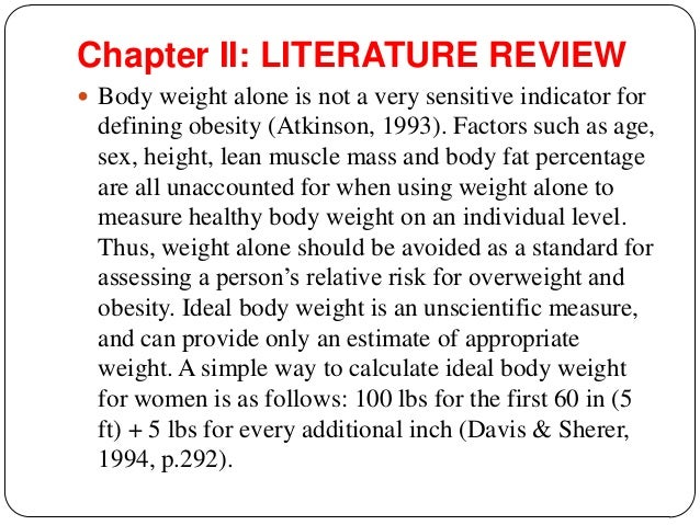 what is the review of literature for science weight